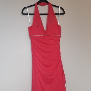 Betsy & Adam Size 12 Red Full Length Halter Gown